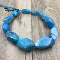 Poliedro Faceted bLUE Dragon Veins Agates Nugget Beads Mix size banded agates Quartz Druzy Pendant Beads For Jewelry MY1556