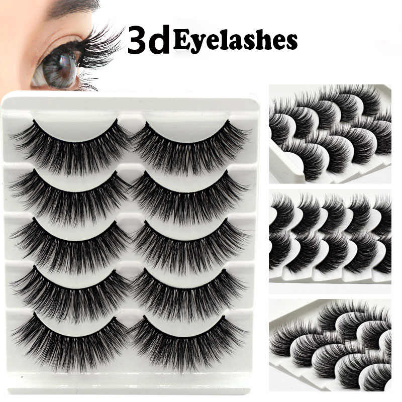 100% 5Pair Mink Eyelashes False Eyelashes Crisscross Natural Fake lashes Makeup 3D Mink Lashes Extension Eyelash Beauty