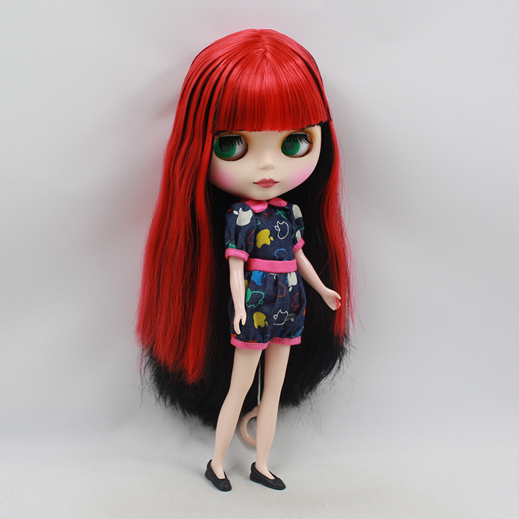 Blyth Nude Doll For Series No 230BL1171061Joint body bangs Wine Red mix Black Hair Suitable For