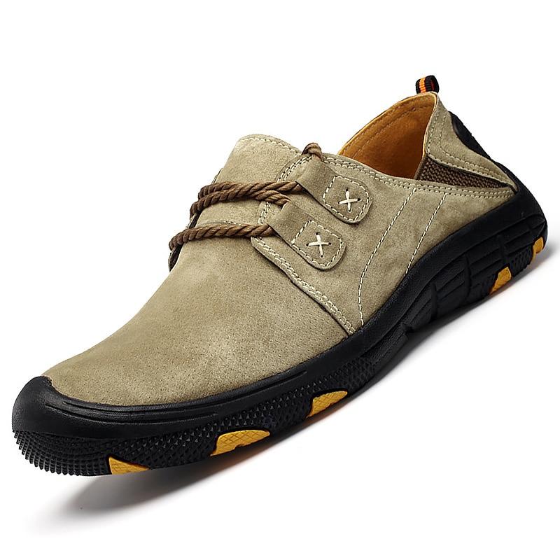 Daim articles chaussants pour hommes été en cuir chaussures décontractées pour hommes grande taille 11.5-14 à lacets confortable conduite Sneakers mâle Chaussure Homme