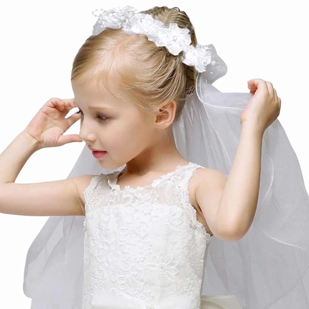 5d64772292 Girls' First Communion Veils Girls Fashion Floral Headpiece Veil Flower  Crown Wedding Dress Hair Accessories White without comb