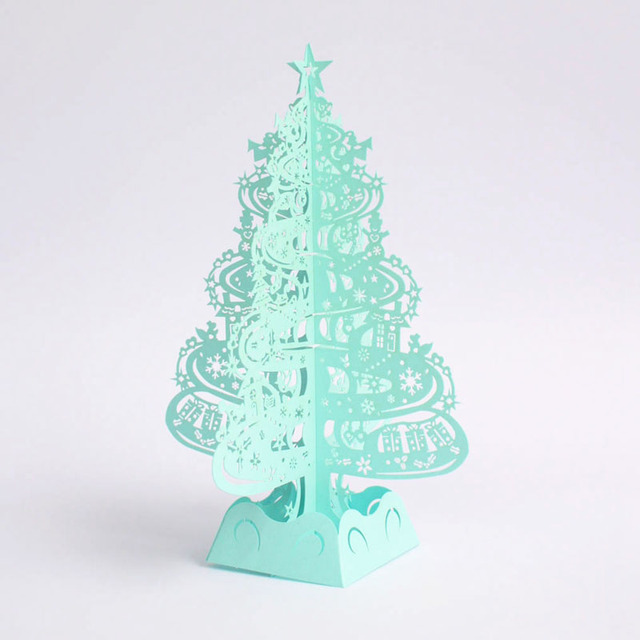 Regalos del rbol de navidad 3D Laser Cut tarjetas Pop Up decoracin