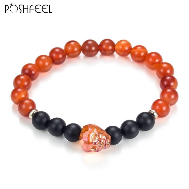 Poshfeel 2017 Crystal Skull Bracelets Men Jewelry Black Onyx & Red Natural Stone Bracelets & Bangles Pulseras Mbr170041