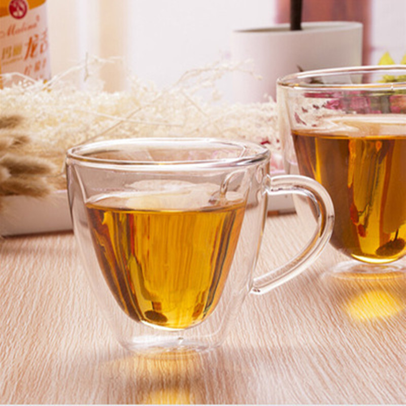 Image 3 - Heart Love Shaped Double Wall Glass Mug Resistant Tea Beer Mug Milk Lemon Juice Cup Drinkware Lover Coffee Cups Mug Gift-in Transparent from Home & Garden