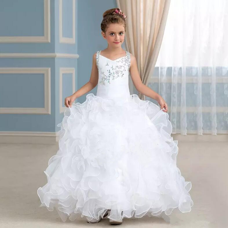 2017 Sweet White Flower Girl Dresses for Wedding Beaded Crystal Ruffles Organza V-Neck Long Pageant Party Dress high low flower girl dresses beaded organza ruffles v neck first communion dress 2018 girls pageant gown custom any size