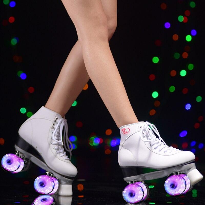 фигурные коньки на английском - Roller skates For girls,  skating shoe, white flashing Led wheels Roller shoe, figure skates,white