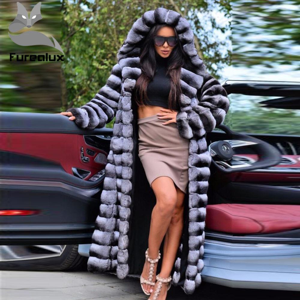 Furealux 130cm Super Long Real Rex Rabbit Fur Coat Chinchilla Color Full Pelt Fur Women's Fur Coats Outerwear Warm Winter