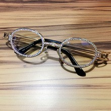 681d1b1bd 2019 Hip Hop Retro Small Round Sunglasses Women Vintage Steampunk Sun  glasses Men Clear lens Rhinestone sunglasses Oculos UV400