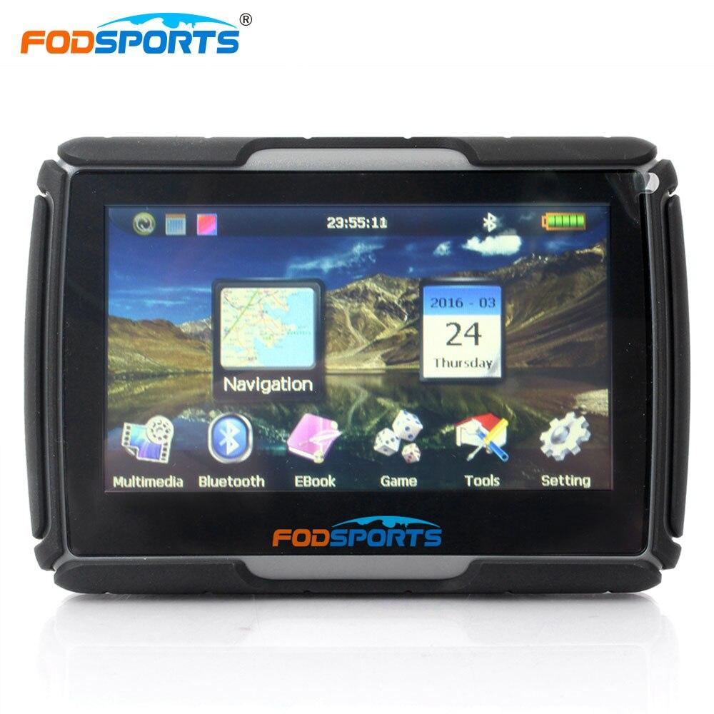 Fodsports 4.3 pouces navigateur de voiture HD Bluetooth GPS 8 GB 256 MB étanche IPX7 anti choc moto GPS navigation livraison cartes