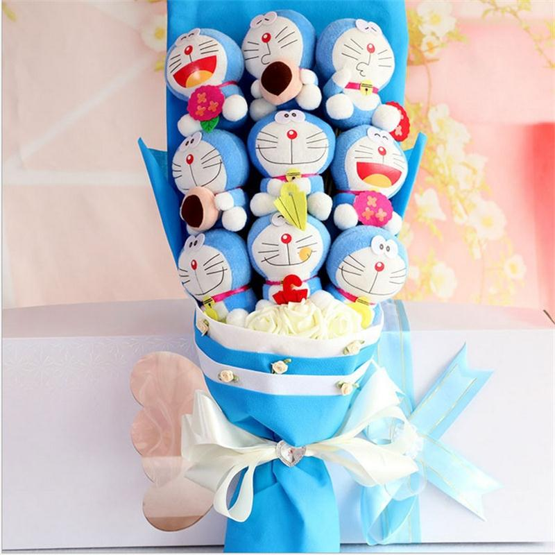 Handmade Cartoon Doraemon plush toys with fake flowers bouquet fashion creative Valentine's Day graduation birthday gifts 4pcs lot loz christmas gifts doraemon