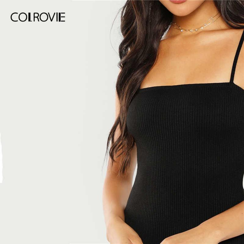 COLROVIE черный трикотажной однотонные пикантные узкие Cami основные Для женщин 2019 Лето Без Рукавов облегающее офисные женские боди