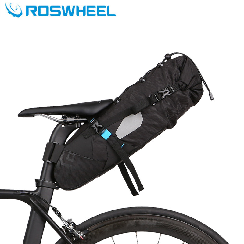 ROSWHEEL cycling bicycle bag mountain bike rear seat 10L 100% full waterproof high capacity intercity saddle bag bike accessory roswheel 50l bicycle waterproof bag retro canvas bike carrier bag cycling double side rear rack tail seat trunk pannier two bags