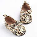 2016 Spring New Bulk Silk Leopard Newborn Toddler Baby Moccasins Bow Shoes Infant Shoes Princess Girls Kids Soft Soled Anti-slip