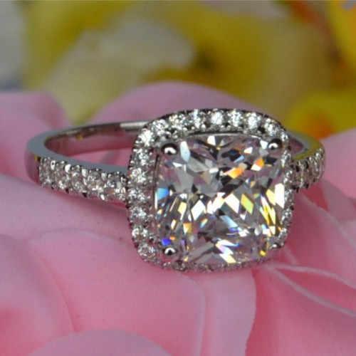 S925 6*6 mét 1CT Đáng Yêu Thiết Kế Đệm Kim Cương Tổng Hợp Engagement Ring Sterling Silver Lời Hứa Bridal Wedding Trắng Vàng màu