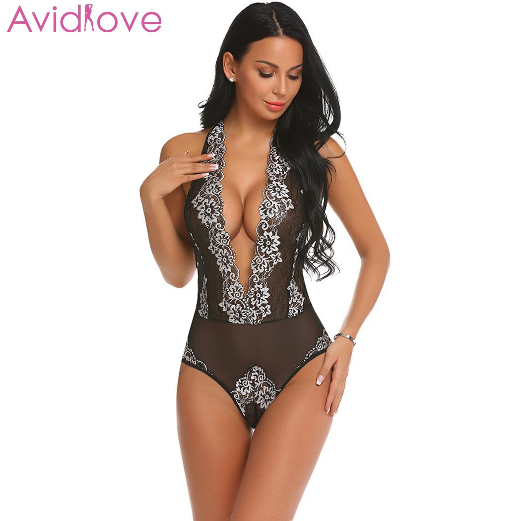 ff2f4c26bf7 Avidlove Corpo Suit Bodystocking Das Mulheres Roupa Interior Lingerie  Erótica Trajes Sexy Floral Sexy Halter Lace Patchwork Mulheres Lingerie