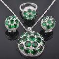 Fantástico Criado Verde Esmeralda Conjuntos de Jóias das Mulheres 925 Sterling Silver Brincos/Pingente/Colar/Anéis Frete Grátis QZ014