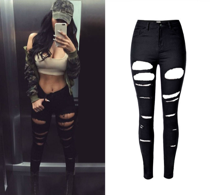 2019 High Quality Robek Skinny Ripped Jeanss