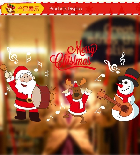 2016 santa claus christmas showcase window glass sticker xmas56 christmas party decoration store wallpaper bathroom stick - Party Decoration Stores