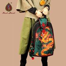 Новые Оригинальные Этническая дракон рисунок вышивки сумки Наси. Хани марка Винтаж Мода унисекс Холст Рюкзак путешествия