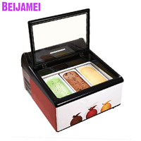 Beijamei New Arrival 3 pans tabletop gelato display freezer electric countertop ice cream gelato showcase cabinets