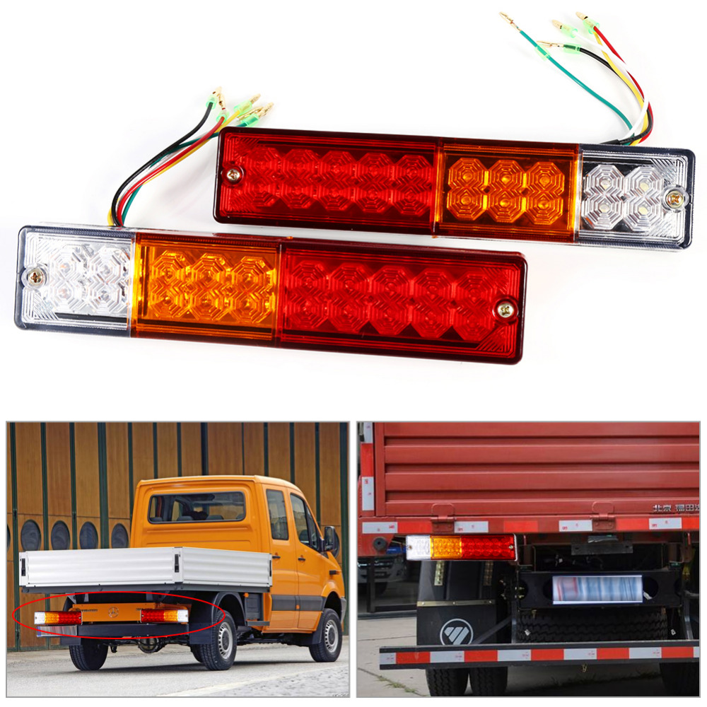2pcs LED Stop Rear Tail Brake Reverse Light Turn Indiactor 12V/24V ATV Truck Trailer Lamp