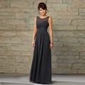 Grey A Line Scoop Neck Tank Long 2016 Bridesmaid Chiffon Hot Selling Pleated Well Designed Ladies Night Party Dresses