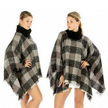 Women Poncho Knit Ethnic Fusion Tartan Knitted Turtle Neck Sweater Coat Outwear Newest