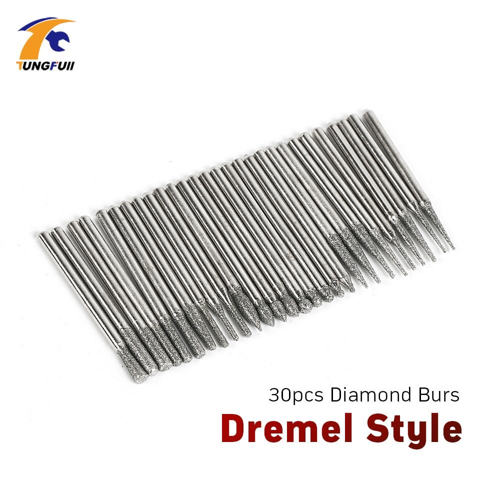 Tungfull Tool Dremel Style Accessories 30Pcs Grinding Jade Marble Glass  Diamond Burs Electric Power Tools Mini Drill Engraving
