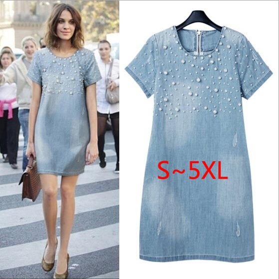 Mărime mare 5XL Sundress Jeans Femei casual plus mărime vestidos broderie margele Rochii Denim mari dimensiuni Party Summer Dress