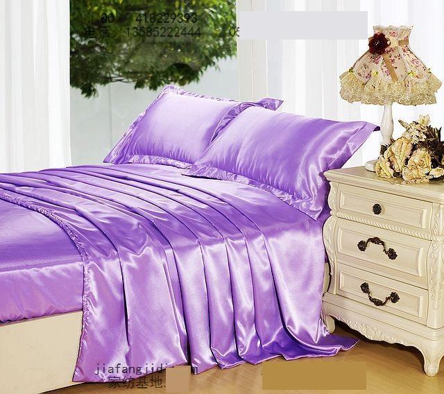 Violet clair mauve lilas soie ensemble de literie king size reine couette housse de couette lit dans un sac drap couvre-lit drap de lit linge de chambre