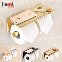 jieshalang Space Aluminium Toilet Roll Holder Paper Phone Toilet Tissue Dispenser Toilet Paper Holder Bathroom Accessories Gold