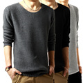 men's winter water ripple pattern thickened pull over men's sweater long sleeve round neck sweater