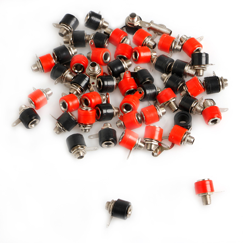 50pcs 4mm Banana Panel Socket Test Probe Binding Post Nut Plug Jack Connector-Y122 mayitr 10pcs red black banana socket nickel plated binding post nut banana plug jack connector suitable for 4mm banana plug