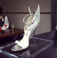 Top Quality Branco Da Asa Da Borboleta de Prata Metálico Calcanhar Cinta Toe Stiletto Sandália De Noiva de Alta Qualidade Vestido de Verão mulher sapatos Mulhe