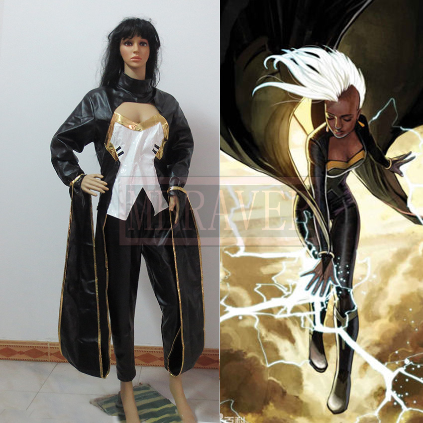 Movie Coser X-men Storm Ororo Munroe Cosplay Costume Black Leather Suit Halloween Costume for Women
