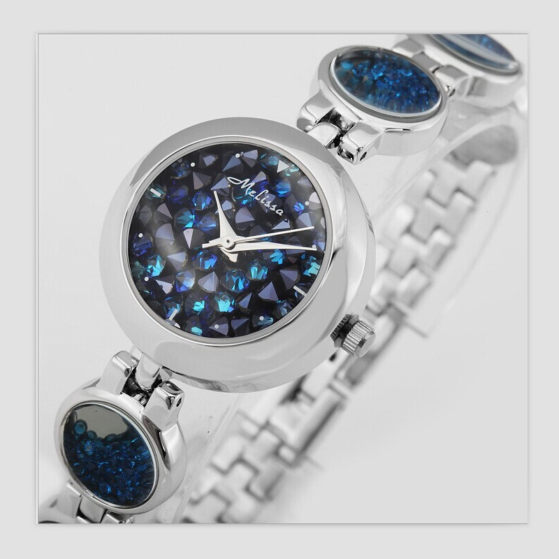 Melissa Luxury Women Brand Jewelry Watches Blingbling Starry Night Stars Crystal Watch Quartz Bracelet Wrist watch Bangle Montre punk jewelry rome scale women watches quartz watch luxury brand genuine leather band bangle montre skull cat zegarki damskie
