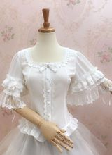 100%real white/black lolita cosplay blouse/lolita shirt ruffled lace embroidery big flare butterfly sleeve bowknot