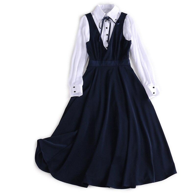 2019 nouveau élégant 2 pièces ensemble femmes preppy style deux pièces ensemble blanc robe ensemble femme 2 pièces femme vêtements