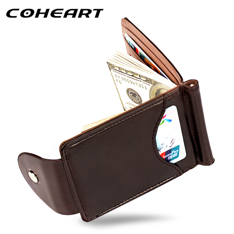 Coheart Top Quality Wallet Men Money Clip Mini Wallets Male Vintage Style Brown Grey Hasp Purse Leather Card Holers With Clamp