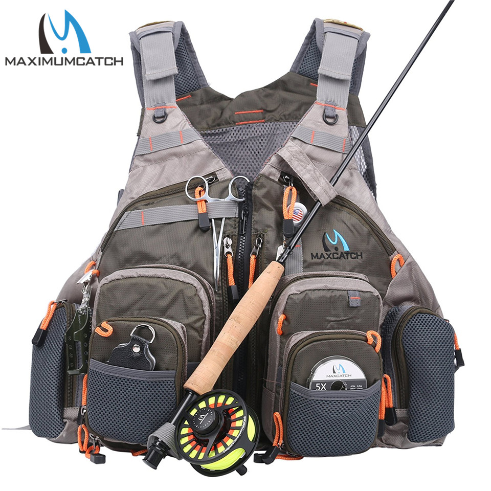 Maximumcatch Fly Fishing Vest With Multifunction Pockets Adjustable-size Mesh Fishing Backpack Fly Fishing Jacket army green adjustable outdoor sport bag multifunction pockets hunting fishing vest tactical backpack fish accessory