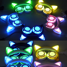 Foldable Cat Ear Headphones with LED Flashing Light Gaming Headset Glowing Stereo Cat Earphones for PC Computer and Mobile Phone