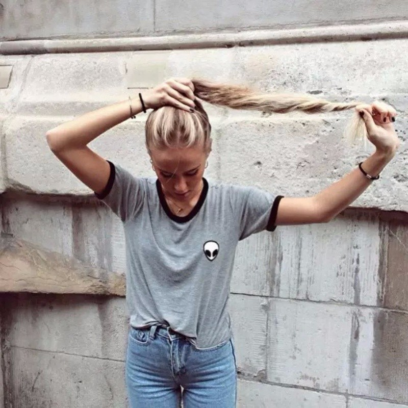 HTB1f4d.NFXXXXbQaXXXq6xXFXXXJ - Cute Stripe Short Sleeve Cotton Top Tee Alien Embroidery Tshirts