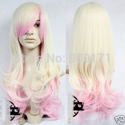 Parrucca perruque trasporto Libero *** Neu Bionda Rosa lange Haar Volle Perücke Gelockt Gewellt Cosplay Perücke Parrucca