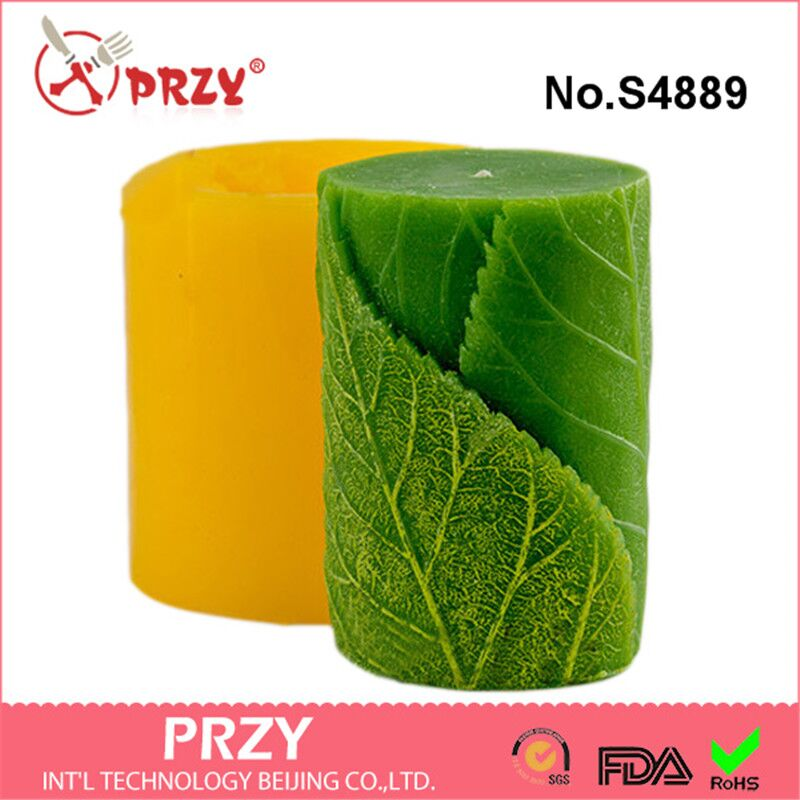 przy Silicone molds Cylinder with leaves 3D handmade soap mold candle mould resin clay mold aroma stone molds