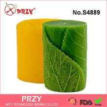 przy Silicone molds Cylinder with leaves 3D handmade soap mold candle mould resin clay aroma stone