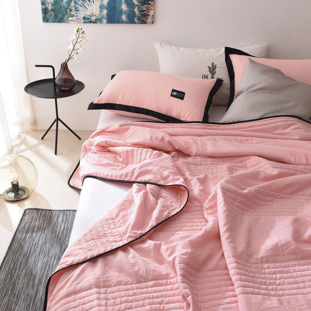 1pc Summer Quilt Bed Cover Pink Bedding Queen Size Light Weight Solid Color