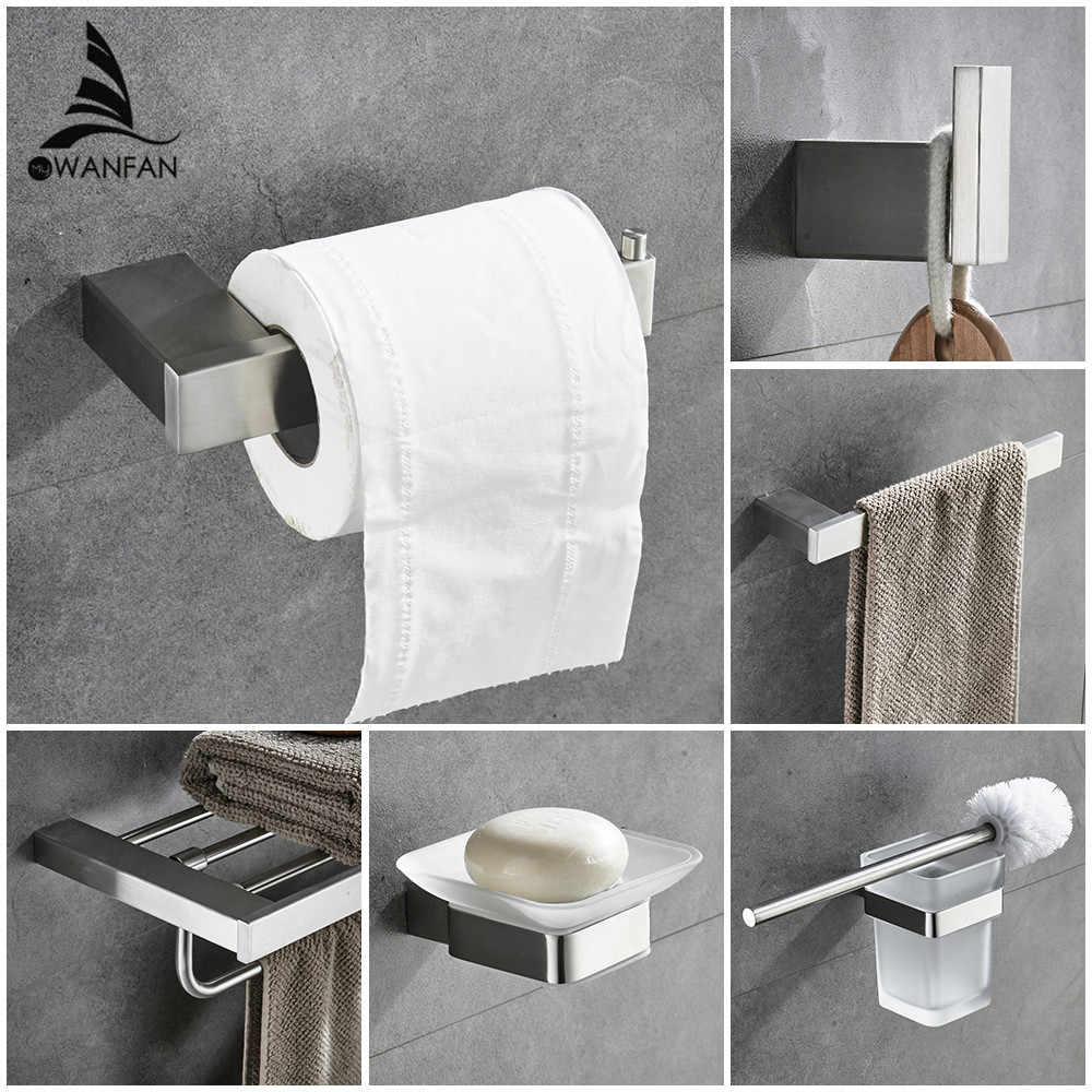סטי רחצה אירופאי מודרני מתכת טבעת מגבת מחזיק נייר טואלט מחזיק כוס חומרת אמבטיה וו חלוק 610000SN הולם