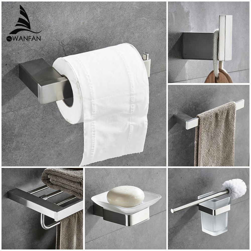 Efficient Metal Bathroom Sets European Modern Towel Ring Toilet Paper Holder Cup Holder Robe Hook Bathroom Hardware Fitting 610000sn