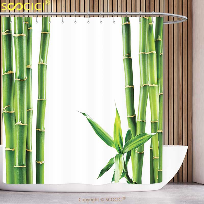 Waterproof Shower Curtain Asian Decor Branches Of Bamboo Board Stalk Tropics Plants Greenery Fengshui Natural Lush Bathroom