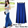 2015 Hot Plus Size Loose Casual Summer Bohemian Long Skirts Women Thin Solid Draped Elastic Waist Modal Skirts With Slit